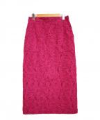 VERMEIL par iena(ヴェルメイユパーイエナ)の古着「カットジャガードタイトスカート」 ショッキングピンク
