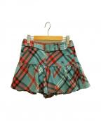 BURBERRY BLUE LABEL(バーバリーブルーレーベル)の古着「チェックキュロット パンツ スカート」|ブルー
