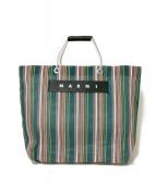 MARNI(マルニ)の古着「FLOWER CAFEストライプショッピングバッグ」|グリーン×ピンク