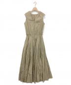 CASA FLINE(カーサフライン)の古着「ブラウジングノースリーブシャツワンピース」|ベージュ