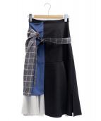 UNITED TOKYO(ユナイテッドトーキョー)の古着「ブロックカラーフレアスカート」|ブラック