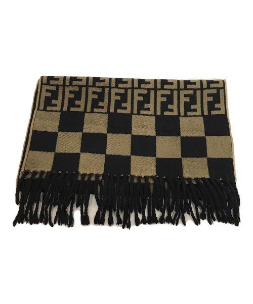 FENDI(フェンディ)FENDI (フェンディ) ズッカ柄マフラー ブラック×オリーブの古着・服飾アイテム
