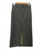 ASTRAET(アストラット)の古着「チェックコンビタイトスカート」|グレー