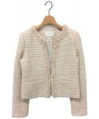 ()の古着「かすりツイードノーカラージャケット」|ピンク