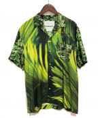 FUMITO GANRYU(フミトガンリュウ)の古着「Watteau pleats Hawaiian shirt」|グリーン
