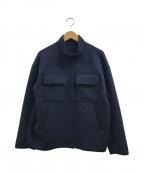 KUMIKYOKU(クミキョク)の古着「T/Rダンボールニット ブルゾン」|ネイビー