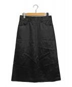 DES PRES(デプレ)の古着「レザーライクサテンAラインスカート」|ブラック