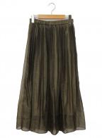 allureville(アルアバイル)の古着「シャンブレーアシメプリーツスカート」|カーキ