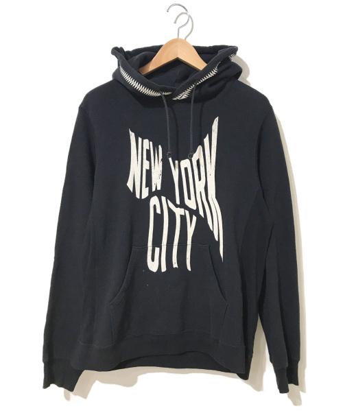 UNDERCOVER(アンダーカバー)UNDERCOVER (アンダーカバー) GIZ柄フードNYCパーカー ブラック サイズ:M 歪みNEW YORK CITY復刻の古着・服飾アイテム
