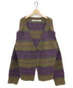 PERVERZE(パーバーズ)の古着「Stripe Mohair Wide Cardigan」