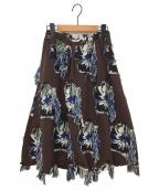 AKIRA NAKA(アキラナカ)の古着「フラワージャガードスカート」|ブラウン