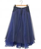 Belle vintage(ベル ビンテージ)の古着「デニムドッキングボリュームチュールスカート」 ネイビー