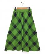 Diagram()の古着「チェックニットスカート」|グリーン