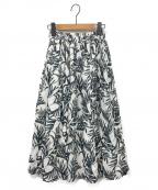 SACRA(サクラ)の古着「リネンリーフプリントスカート」|ホワイト