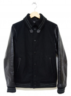 BEAMS(ビームス)の古着「レザー袖スタジャン」 ブラック