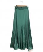 N.O.R.C(ノーク)の古着「サテンフレアマキシスカート」|グリーン