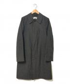 ROBE DE CHAMBRE COMME DES GARCONS(ローブドシャンブル コムデギャルソン)の古着「[OLD]ストライプギャバウールステンカラーコート」|ブラック