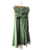 STUDIOUS(ステュディオス)の古着「アシンメトリー セミフレアスカート」|グリーン