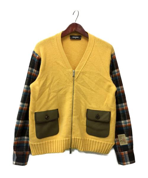 DSQUARED2(ディースクエアード)DSQUARED2 (ディースクエアード) ジップカーディガン イエロー サイズ:XLの古着・服飾アイテム