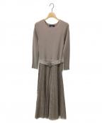 JUSGLITTY(ジャスグリッティー)の古着「柄編みニットワンピース」|ベージュ