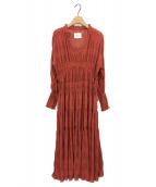 ()の古着「SHIRRING PLEATS DRESS」|レッド
