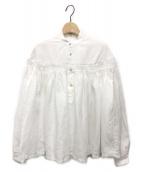 ()の古着「リネン高密度長袖タックシャツ」|ホワイト