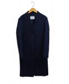 ()の古着「メルトンカラーレスコート」|ネイビー