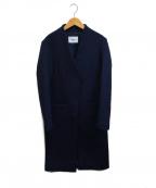 RIM.ARK(リムアーク)の古着「メルトンカラーレスコート」|ネイビー