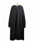 Yohji Yamamoto pour homme(ヨウジヤマモトプールオム)の古着「フェルトウールノーカラーロングシャツコート」|ブラック