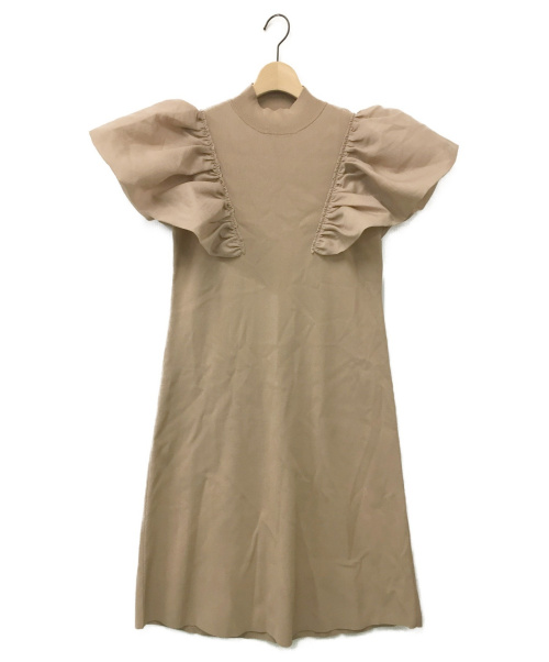CELFORD(セルフォード)CELFORD (セルフォード) フリルAラインニットワンピース ベージュ サイズ:38の古着・服飾アイテム