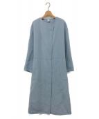 ROPE(ロペ)の古着「ウールリバーノーカラーロングコート」|ブルー