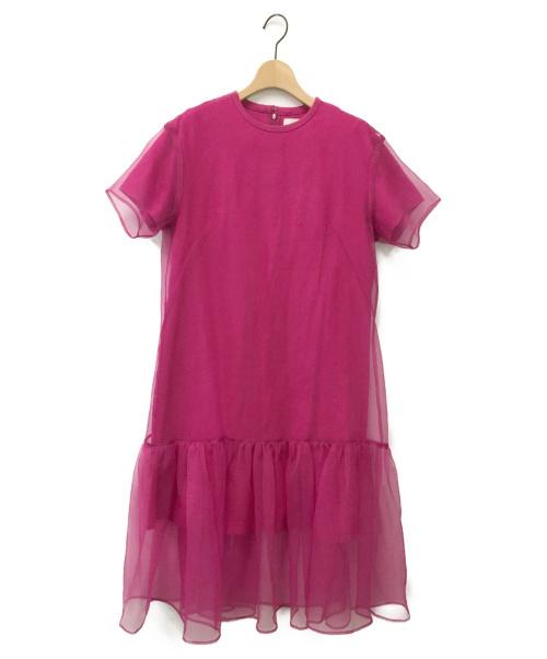 AKIRA NAKA(アキラナカ)AKIRA NAKA (アキラナカ) レイヤードオーガンジードレス ピンク サイズ:1の古着・服飾アイテム