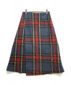 ()の古着「チェックラップスカート」|ネイビー