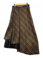 AULA(アウラ)の古着「チェックZIPスカート」|ブラウン