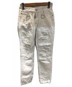 ()の古着「ダメージ加工デニムパンツ」 ホワイト