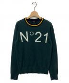 N°21 numero ventuno(ヌメロヴェントゥーノ)の古着「ロゴ編み込みニット」|グリーン