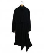 CASA FLINE(カーサフライン)の古着「カーディガンセットニットワンピース」|ブラック