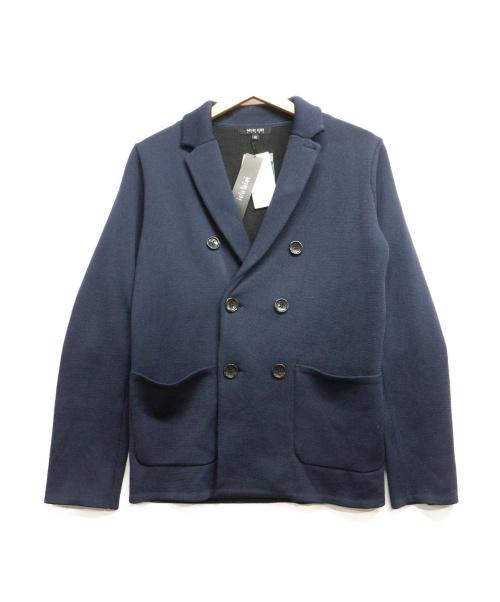MICHEL KLEIN HOMME(ミッシェルクランオム)MICHEL KLEIN HOMME (ミッシェルクランオム) ダブルフロントニットジャケット ネイビー サイズ:46の古着・服飾アイテム