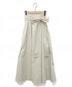 OBLI(オブリ)の古着「ハイウエストギャザースカート」 ベージュ