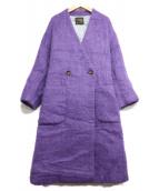 ()の古着「シャギーVネックコート」|パープル