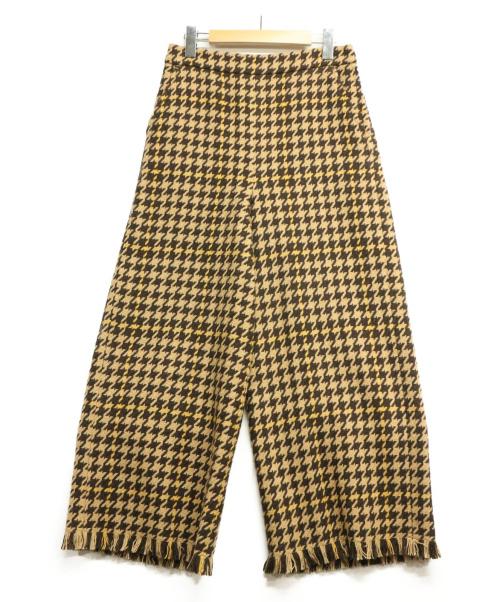 RAY BEAMS(レイ ビームス)RAY BEAMS (レイ ビームス) チェックフリンジワイドパンツ キャメル サイズ:1の古着・服飾アイテム