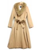 ()の古着「FOXファーカラーコート」|キャメル