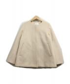 ()の古着「フレアノーカラーコート」|ベージュ