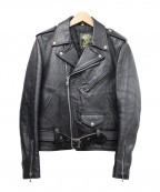 666(トリプルシックス)の古着「レザーダブルライダースジャケット」|ブラック