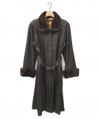 LEONARD(レオナール)の古着「ミンクファー付シルクコート」 ブラウン