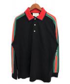 GUCCI(グッチ)の古着「19AW ロゴロングスリーブポロシャツ」|ブラック×レッド