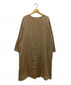 YARRA(ヤラ)の古着「ノーカラーシャツワンピース」 ブラウン