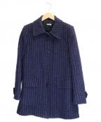 MIU MIU()の古着「ストライプステッチウールコート」|ネイビー