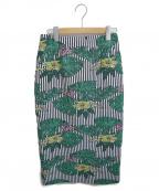 Loulou Willoughby(ルルウィルビー)の古着「モンステラジャガードタイトスカート」|ネイビー