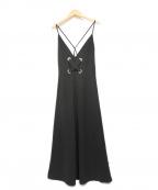 LE CIEL BLEU(ルシェルブルー)の古着「ビッグレースアップキャミソールドレス」 ブラック